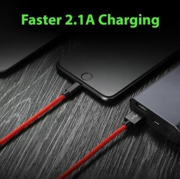 Heavy Duty Metal Braided Lightning USB Charger Cable For iPhone 5 6 7 8 X (1M 2M 3M)