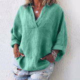 Plus Size Fashion XS-8XL Women's Summer Casual Linen Tops Ladies Solid Color Beach Wear T-shirts Deep V-neck Long Sleeve Blouses