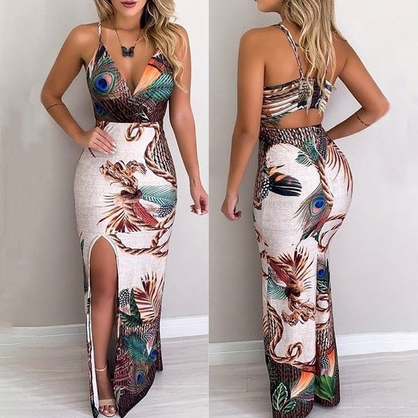 Fashion Sexy Deep V Neck Peacock Feather Bodycon Long Dress
