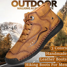 Load image into Gallery viewer, Men Boots Casaul Outdoor Leather Boots Hiking Boots Water Proof Business Style Plus Size