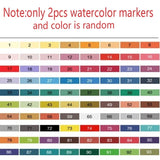 2PCS 80 Colors Adults Dual Tip Brush Marker Pens Painting Watercolor Professionals Artist Color Pencils for Write Children Drawing Supplies (Random Color)