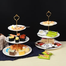 Load image into Gallery viewer, Cake Plate Stands 2 /3 Tier Cake Plate Stand Cupcake Fittings Silver Golden Wedding Party Plates Stand