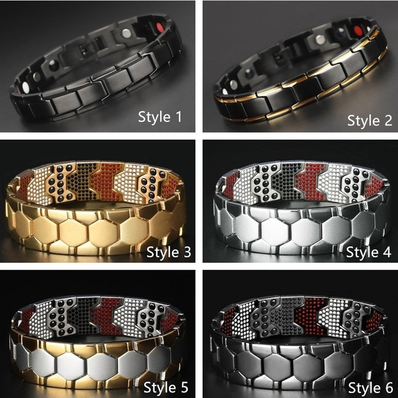 4200 Ion Health Magnetic Bracelets 660Pcs Energy Pure Titanium Steel Black Silver Bracelet Magnet Health Therapy Men Pain Relief Bangle Jewelry