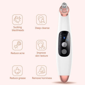 6 in 1 Electric LCD Blackhead Vacuum Acne Cleaner Pore Remover Facial Cleanser Skin Care