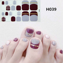 Load image into Gallery viewer, 22tips Pre Designed Toenail Sticker Full Cover Waterproof Sticker Wraps Toe Nail Decoration DIY Nail Art Accessories