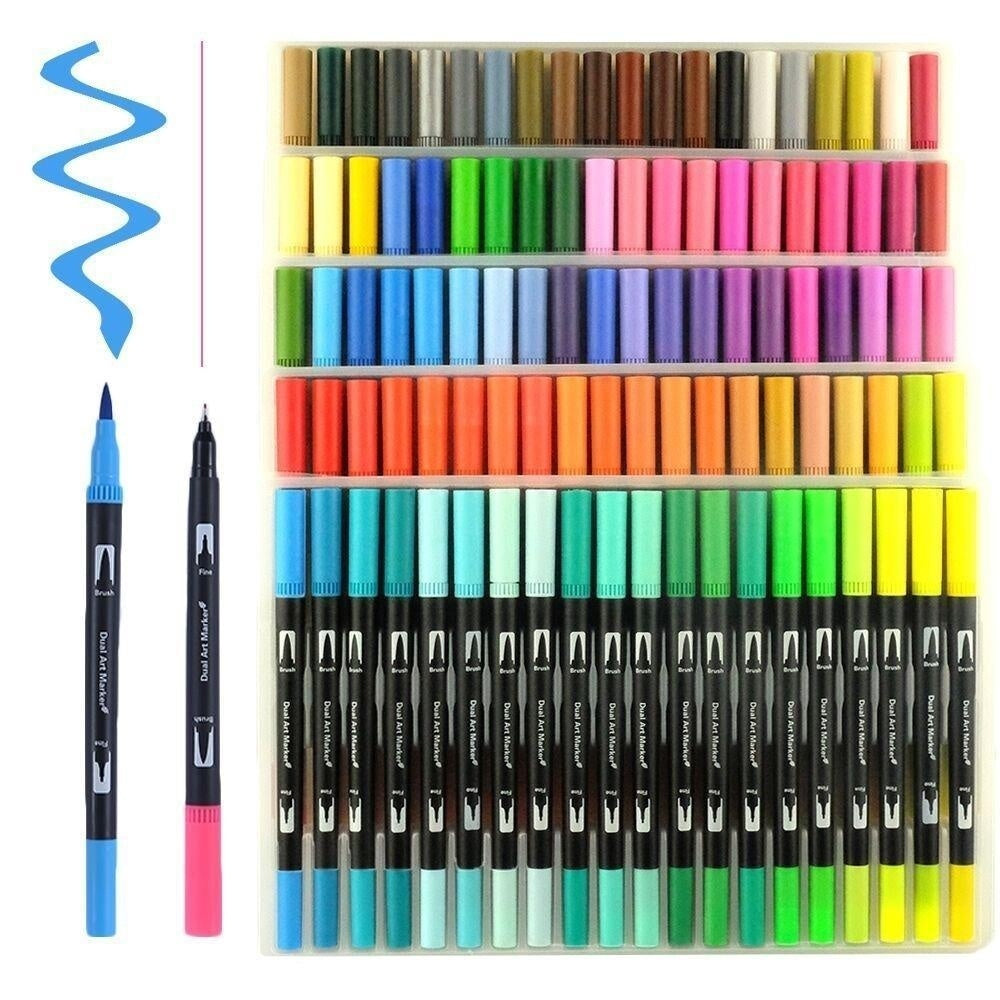 Dual Tip Art Marker Pens Fine Point Bullet Journal Pens & Colored Brush Markers for Kid Adult Coloring Books Drawing Planner Calendar Art Projects