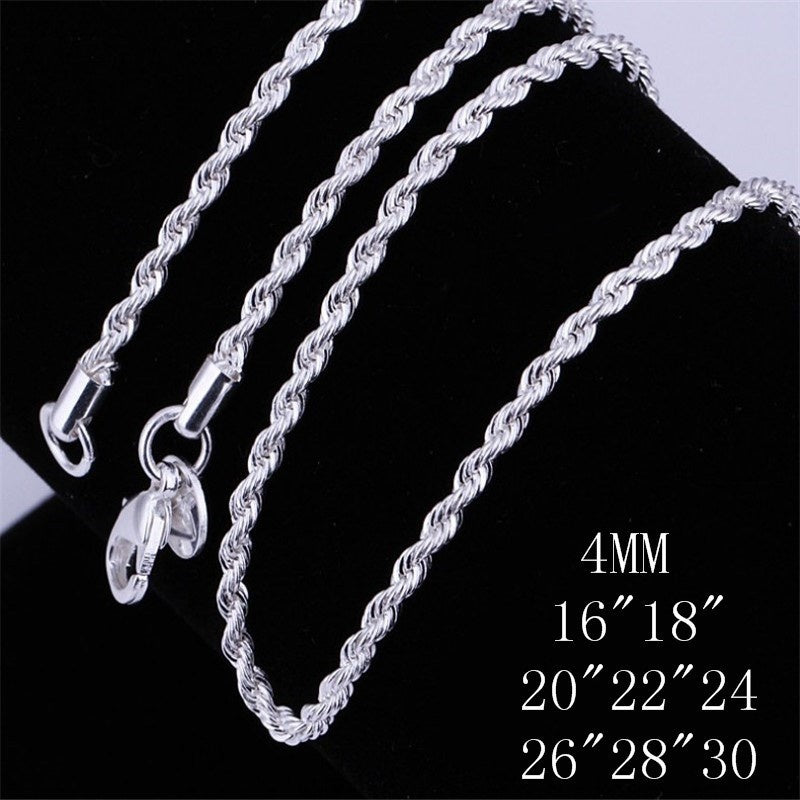 Top Quality 925 Sterling Silver Men Women Twist ROPE Chain Necklace 2MM 16inch/18inch/20inch/22inch/24inch/26inch/28inch/30inch