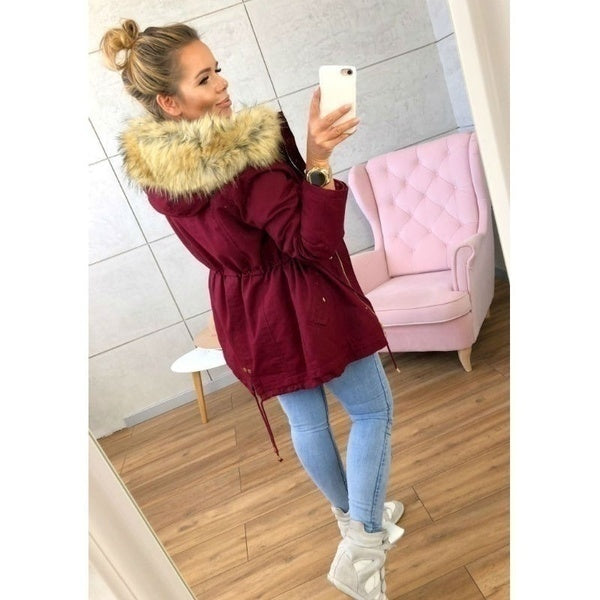 Winter Fashion Women's Parka Coat Thick Warm Military Jacket Coat Outwear With Fur Hood