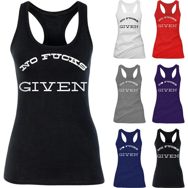2020 Summer Women Fashion NO FUCKS GIVEN  Letter Print Sleeveless Summer Tank Tops Funny Tops Cute Tank Tops