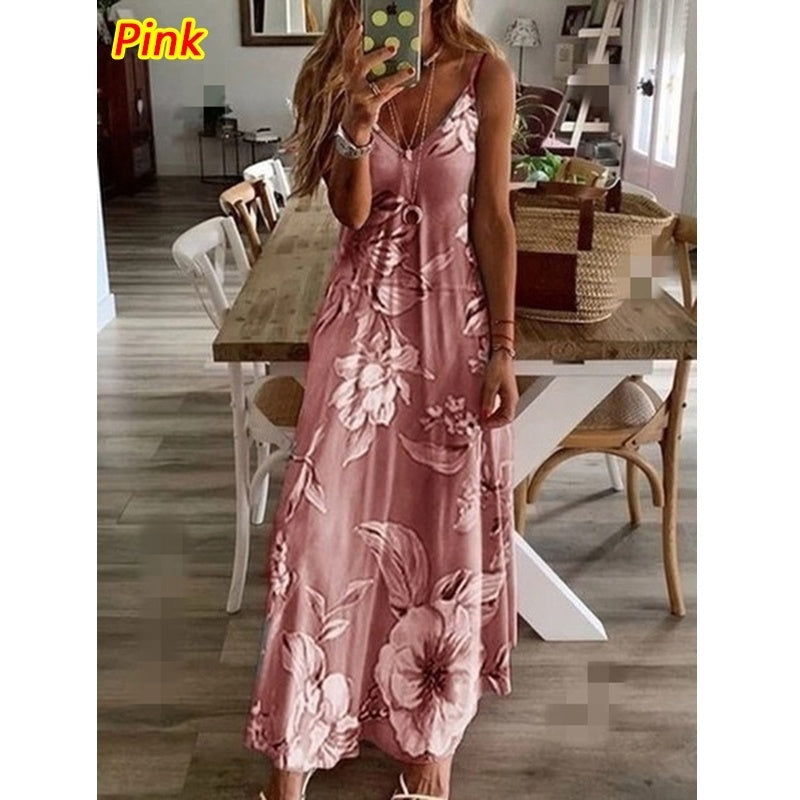 Women's NEW Fashion Summer Sleeveless V-neck Maxi Dresses Floral Print Beach Sling Dress Big Swing Dress Loose Casual Long Vest Dresses Ladies Party Dress Plus Size XS-8XL