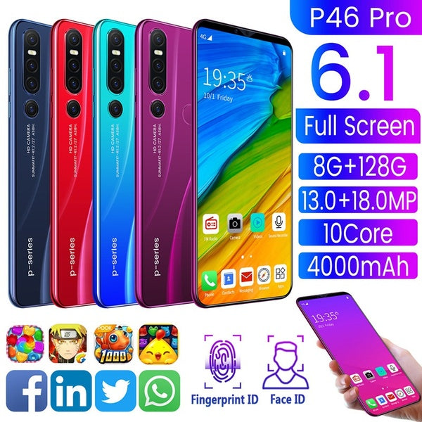 P49 4G Android Smartphone 6.1 Inches Full Screen HD Large Memory 6GB+128GB Strong 10Core Processor Ultra-thin Face/fingerprint Unlock Dual Card Phone Supports T-card Smartphone
