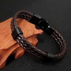 1 PCS Fashion Leather Bracelet Men's Leather Buckle Buckle Hand-woven Multi-layer Men's Leather Bracele