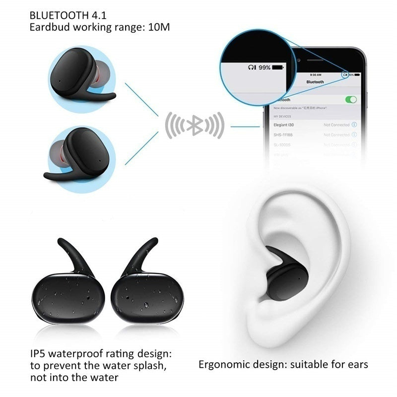 New 1:1 Refurbished Sports Waterproof Binaural Wireless Bluetooth Headset In-Ear Style Long Standby Game Stereo For IOS/Android Earphone