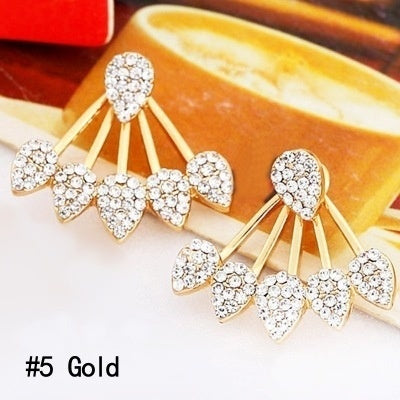 6 Styles 2 Colors Gold/Silver Women Fashion Double Side Flower Shaped Earings Hypoallergenic Ear Stud Earrings