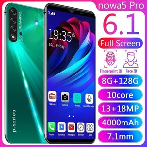 NOWA5 Pro 6.1inch Mobile Phone 8   128GB Large Memory 10 Core Android 9.1 System with Face Recognition Fingerprint Unlock Support Dual Card Dual Standby Smart Full Screen HD Mobile Phone