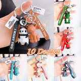 Geometric Animal Keychain Car Pendant Women/Men Bag Key Pandent Cartoon Doll Keychains New Jewelry Accessories Key Rings Creative Gifts