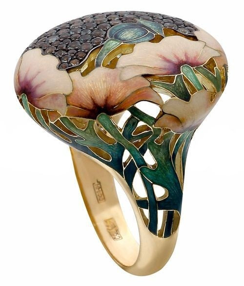 Elegant Woman Beautiful Flowers Pattern Ring 18K Gold Fashion Artistic Color Gemstone Engagement Wedding Rings Jewelry Size 5-11