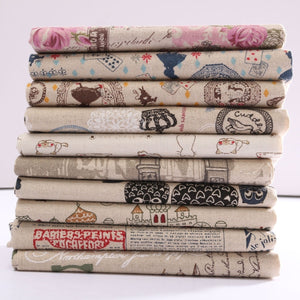 Vintage Europe Styles Natural Cotton Linen Fabric Cloth Sewing Craft Remnants Knitting Supplies