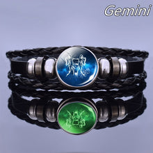 Load image into Gallery viewer, 12 Constellation Leather Bracelet Men Women Punk Braided Bracelet Luminous Zodiac Sign Bracelet Birthday Gifts Can Glow In The Dark