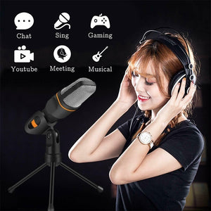 Computer Laptop Recording Microphone Condenser Microphone 3.5mm Wired with Holder for Home Office Desktop Tik Tok Music