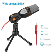 Load image into Gallery viewer, Computer Laptop Recording Microphone Condenser Microphone 3.5mm Wired with Holder for Home Office Desktop Tik Tok Music