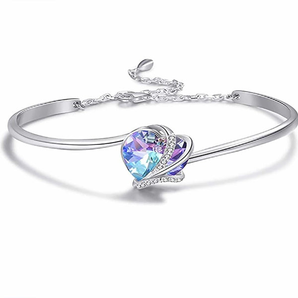 Women Fashion 925 Silver Cuff Bangle Bracelet Colorful Temptation Love Rhinestone Charm Bracelet Wedding Engagement Accessories Valentine Jewelry Gift