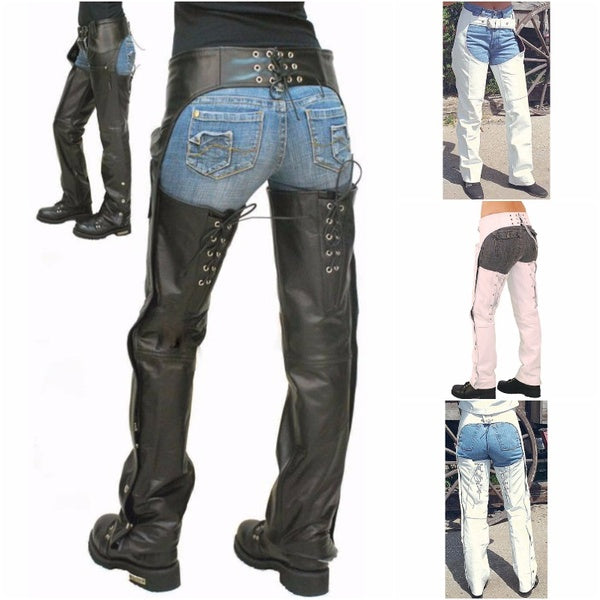 Women Fashion Full Length Suede Leather Pants Elastic Waist Light Stretch PU Leather Pants High Waisted Casual Pocket Motorcycle Leggings