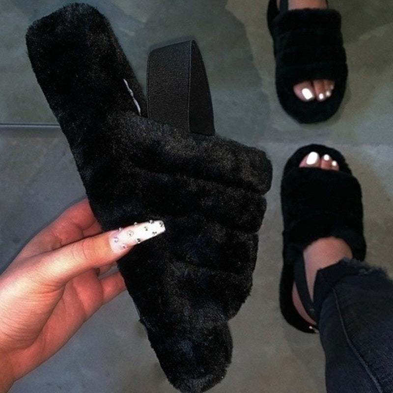 Spring New Comfortable Wild Fur Slippers Imitation Fur Sandals Large Size 35-43