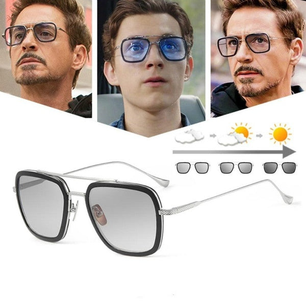Men Square Sunglasses Photochromic Tony Stark Iron Man Vintage Eyewear Polarized Fashion Shades For Women UV400