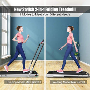 Gymax folding treadmill, electric treadmill with blue teeth and LED screen, portable downer, suitable for home, office and gym