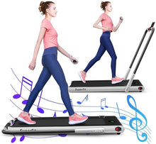 Load image into Gallery viewer, Gymax folding treadmill, electric treadmill with blue teeth and LED screen, portable downer, suitable for home, office and gym