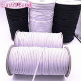 3-12mm 5 Yards/lot Hight Elastic Bands Spool Sewing Band Flat Elastic Cord White and Black Diy Handmade Sewmaterials