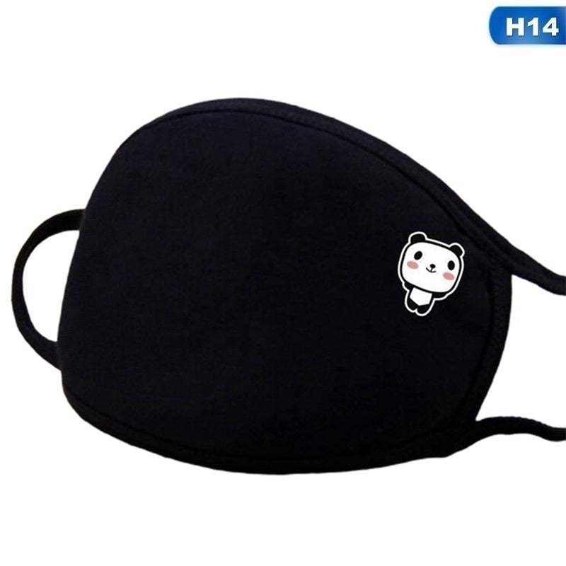 2020 Fashion Unisex Mouth Mask Solid Black Print Cute Face Cover Half Face Breathable Cotton Windproof Anti-Dust Masks