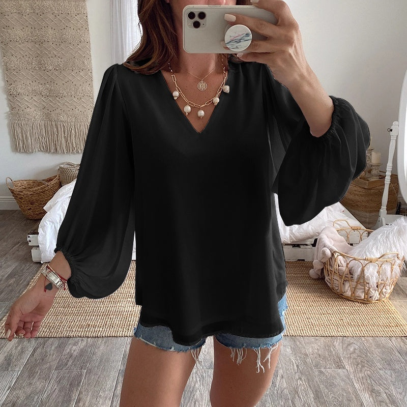 S-5XL New Fashion Women Blouse Tops Long Sleeve V-neck Solid Color Blouse Women Summer Tops Plus Size
