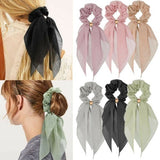 Women Elastic Ponytail Scarf Bow Hair Rope Ties Scrunchies Ribbon Hair Bands