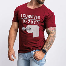 Load image into Gallery viewer, S-5XL New Arrival Men's Tee Tops I Survived The Toilet Paper Crisis Of 2020 Funny T Shirt Short Sleeve Letter Printed T-shirt