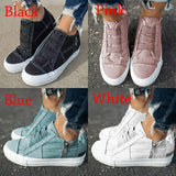Women's Comfortable Flat Student Shoes Low Heel All Season Shoes Casual Sneakers Shoes Female Canvas Single Shoes Chaussures Pour Femmes Large Size 35-43