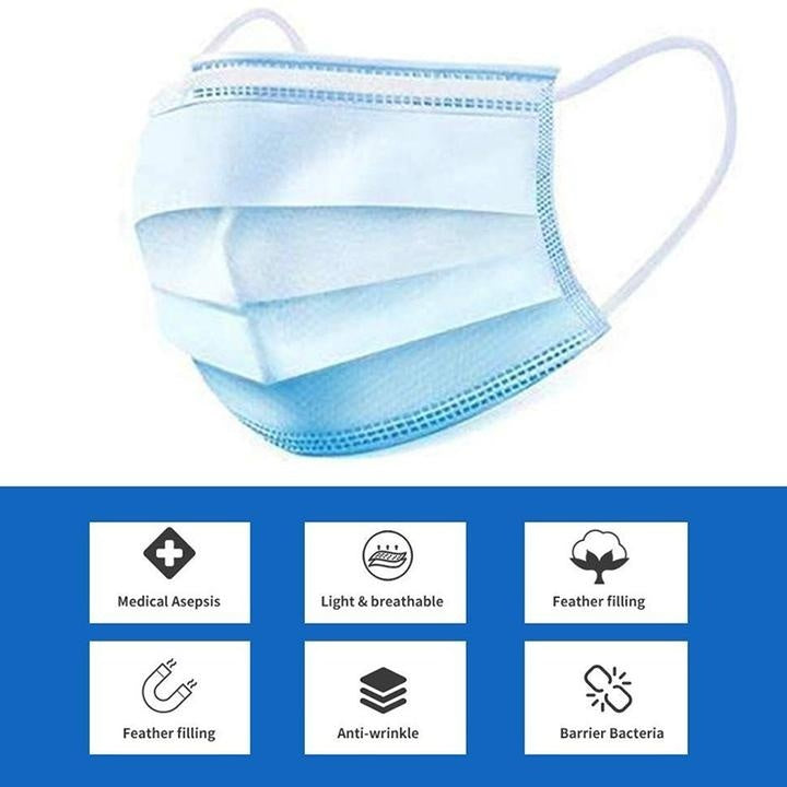 50 PCS disposable masks-disposable non-woven surgical masks dust-proof and breathable ear-hook anti-virus masks, comfortable three-layer thick masks