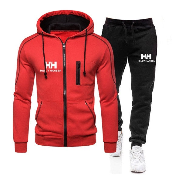 Men Fashion Zipper Printed Hoodie + Pant Two Piece Sets Winter Warm Tracksuit Sportwear