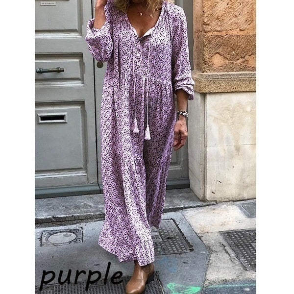 Bohemian Floral Long Sleeve V-neck Dress Women Fashion Casual Maxi Loose Dresses