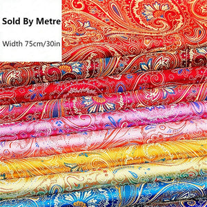 75cm Wide Paisley Print Fabric Polyester Satin Retro Floral Pattern Craft Cloth Costume By Metre