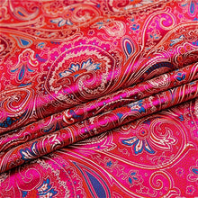 Load image into Gallery viewer, 75cm Wide Paisley Print Fabric Polyester Satin Retro Floral Pattern Craft Cloth Costume By Metre