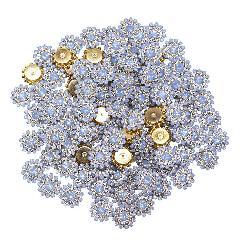 40pcs 14mm Glitter Crystal Glass Stone Flower-shaped Buttons Sew on Rhinestone for DIY Carfts Sewing Accessories Party Clothes Decor