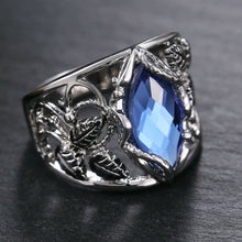 Load image into Gallery viewer, Elegant Women 925 Silver Jewelry Marquise Cut Blue Sapphire Wedding Ring Sz 6-10