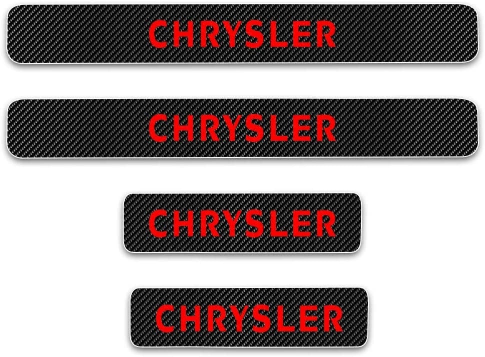 SENYAZON Car Threshold Pedal Sticker for Dodge Chrysler Decoration Scuff Plate Carbon Fibre Vinyl Sticker Car Accessories car-Styling