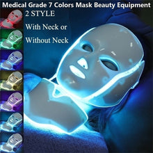 Load image into Gallery viewer, New LED Light Photon Face Neck Mask Skin Rejuvenation Therapy Wrinkles 7 Colors (Plug of Adapter Would Be Sent According To Your Shipping Country) AU EU UK US