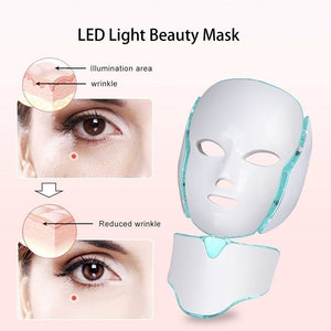 New LED Light Photon Face Neck Mask Skin Rejuvenation Therapy Wrinkles 7 Colors (Plug of Adapter Would Be Sent According To Your Shipping Country) AU EU UK US