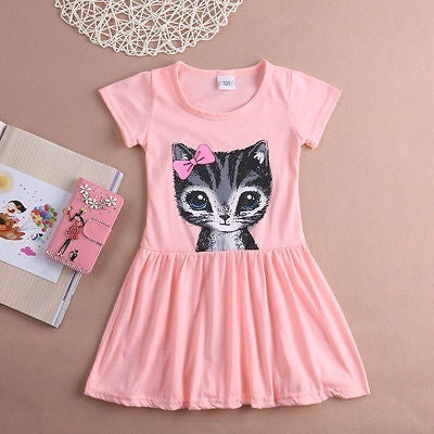 2020 Summer Cute Cat Summer Toddler Baby Girls Princess Dress Party Kids Tulle Tutu Dress