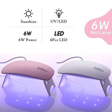 Load image into Gallery viewer, 6W UV Gel Lamp LED UV Lamp Nail Gel Curing Machine USB Cable Mini Nail Dryer