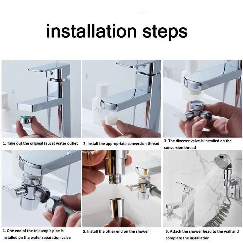 1/2/3PCS Bathroom Wash Face Basin Water Tap External Shower Toilet Hold Filter Flexible Small Nozzle Suit Wash Hair House Artifact Shower